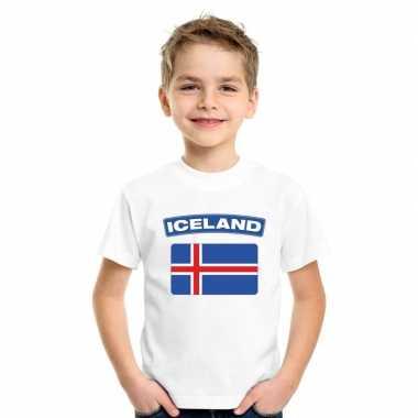 T-shirt wit ijsland vlag wit jongens en meisjes