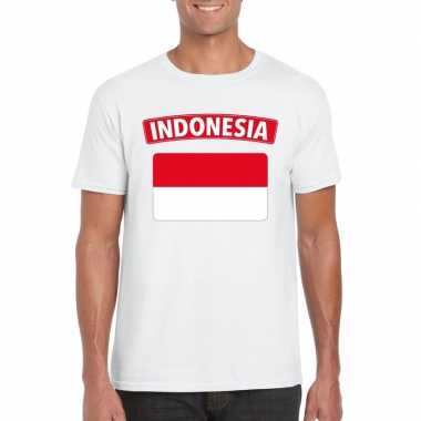 T-shirt wit indonesie vlag wit heren