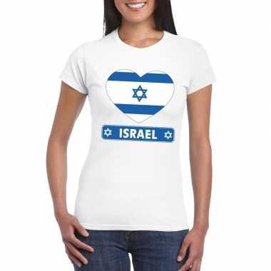 T-shirt wit israel vlag in hart wit dames