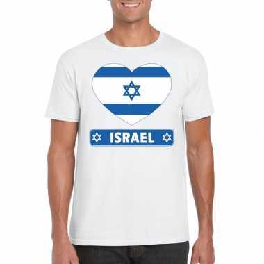 T-shirt wit israel vlag in hart wit heren