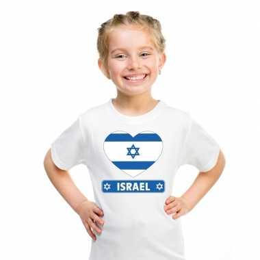 T-shirt wit israel vlag in hart wit kind