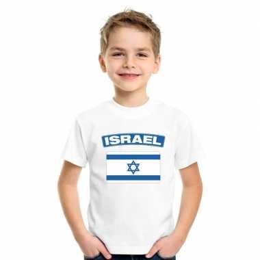 T-shirt wit israel vlag wit jongens en meisjes