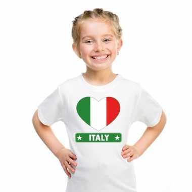 T-shirt wit italie vlag in hart wit kind