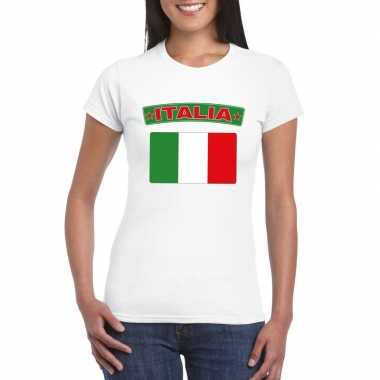 T-shirt wit italie vlag wit dames