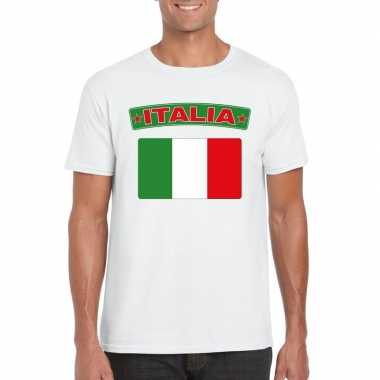 T-shirt wit italie vlag wit heren
