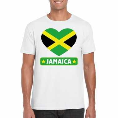 T-shirt wit jamaica vlag in hart wit heren