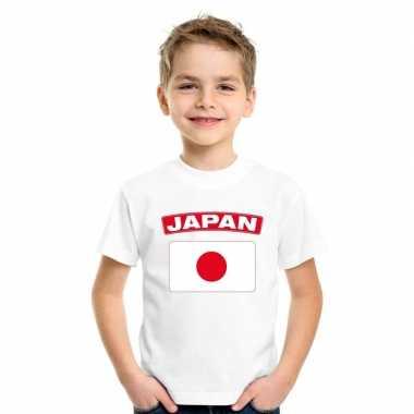 T-shirt wit japan vlag wit jongens en meisjes