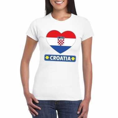 T-shirt wit kroatie vlag in hart wit dames