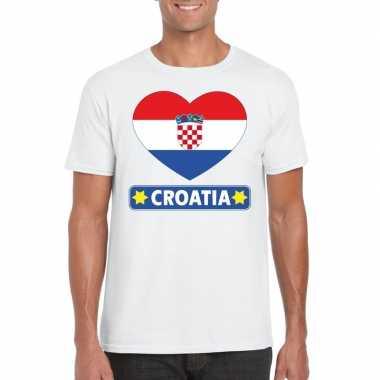 T-shirt wit kroatie vlag in hart wit heren