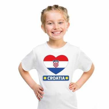 T-shirt wit kroatie vlag in hart wit kind