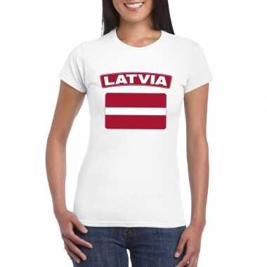 T-shirt wit letland vlag wit dames