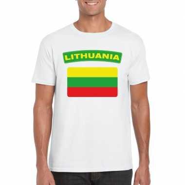 T-shirt wit litouwen vlag wit heren