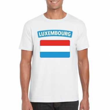 T-shirt wit luxemburg vlag wit heren