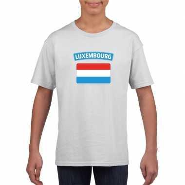 T-shirt wit luxemburg vlag wit jongens en meisjes