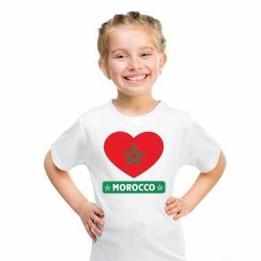 T-shirt wit marokko vlag in hart wit kind