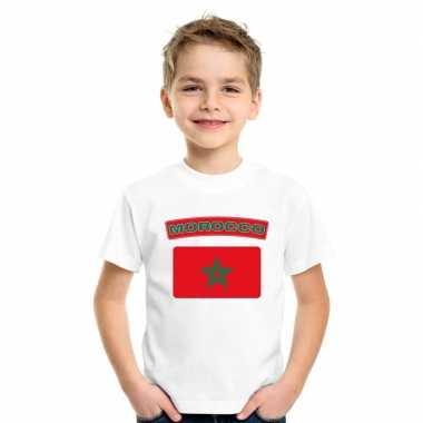 T-shirt wit marokko vlag wit jongens en meisjes