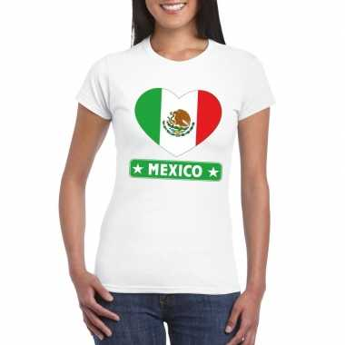 T-shirt wit mexico vlag in hart wit dames