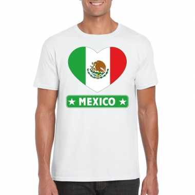 T-shirt wit mexico vlag in hart wit heren