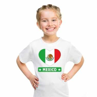 T-shirt wit mexico vlag in hart wit kind