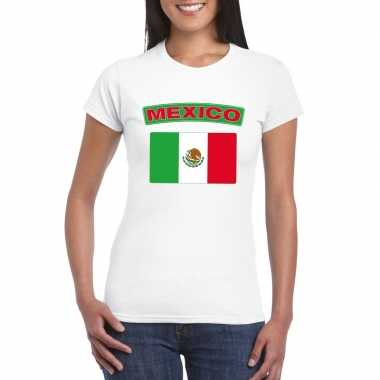 T-shirt wit mexico vlag wit dames