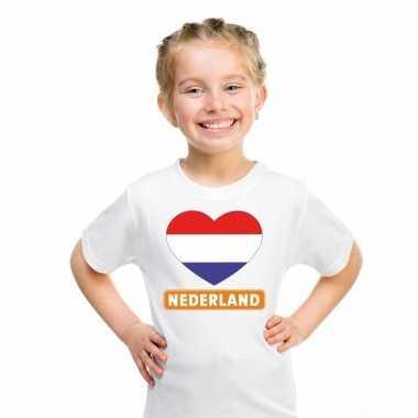 T-shirt wit nederland vlag in hart wit kind