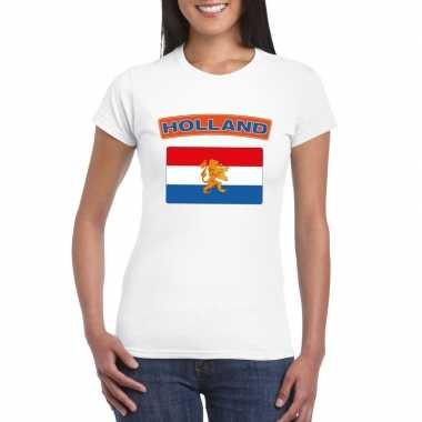T-shirt wit nederland vlag wit dames