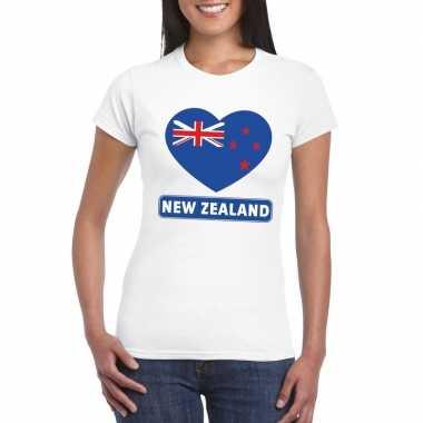 T-shirt wit nieuw zeeland vlag in hart wit dames