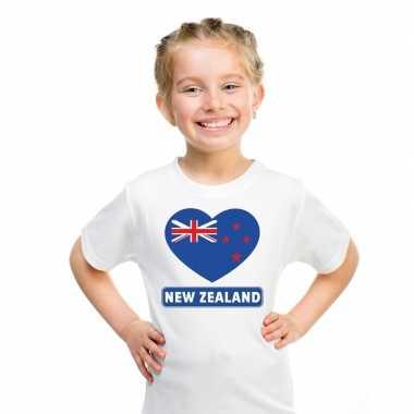 T-shirt wit nieuw zeeland vlag in hart wit kind