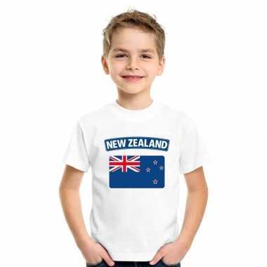 T-shirt wit nieuw zeeland vlag wit jongens en meisjes