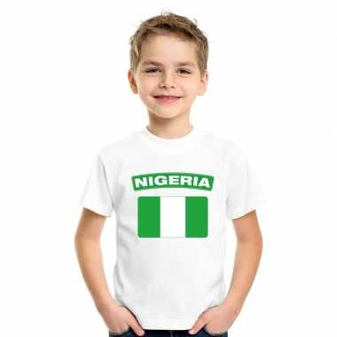 T-shirt wit nigeria vlag wit jongens en meisjes