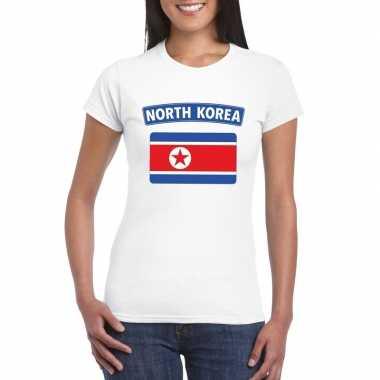 T-shirt wit noord korea vlag wit dames
