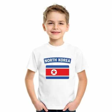 T-shirt wit noord korea vlag wit jongens en meisjes