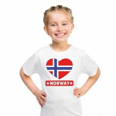 T-shirt wit noorwegen vlag in hart wit kind