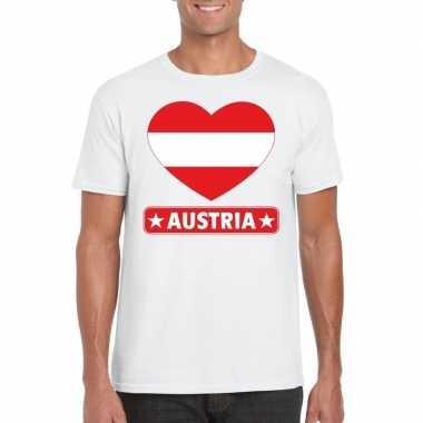 T-shirt wit oostenrijk vlag in hart wit heren