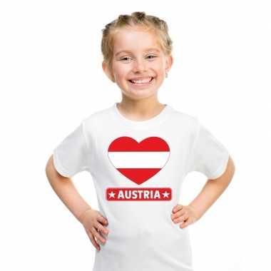 T-shirt wit oostenrijk vlag in hart wit kind