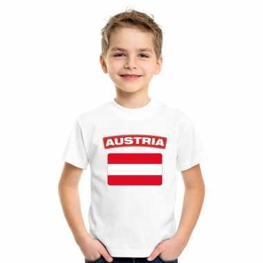 T-shirt wit oostenrijk vlag wit jongens en meisjes