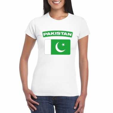 T-shirt wit pakistan vlag wit dames