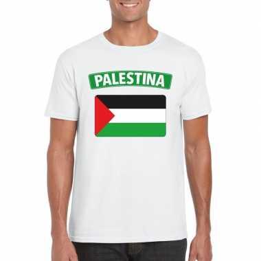 T-shirt wit palestina vlag wit heren