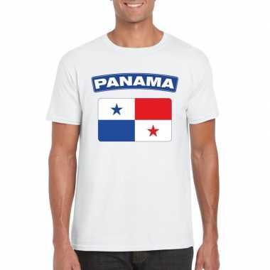 T-shirt wit panama vlag wit heren