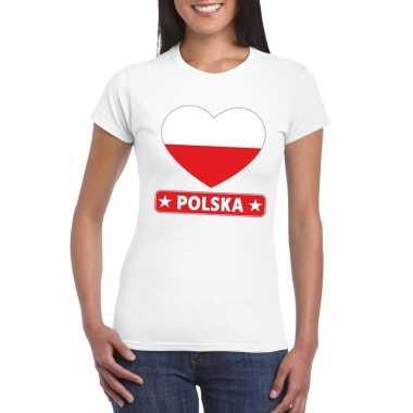 T-shirt wit polen vlag in hart wit dames