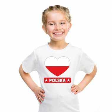 T-shirt wit polen vlag in hart wit kind