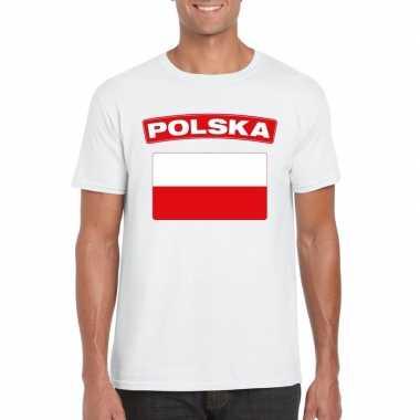 T-shirt wit polen vlag wit heren