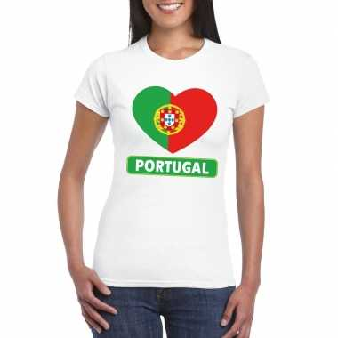 T-shirt wit portual vlag in hart wit dames