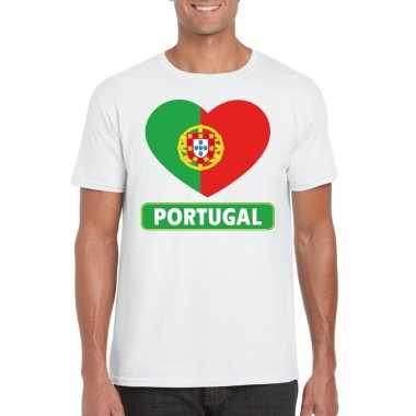 T-shirt wit portual vlag in hart wit heren