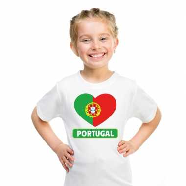 T-shirt wit portual vlag in hart wit kind