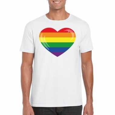 T-shirt wit regenboog vlag in hart wit heren