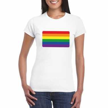 T-shirt wit regenboog vlag wit dames