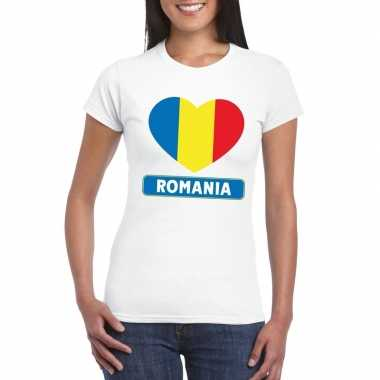 T-shirt wit roemenie vlag in hart wit dames