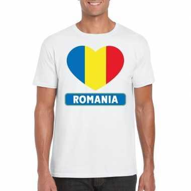 T-shirt wit roemenie vlag in hart wit heren