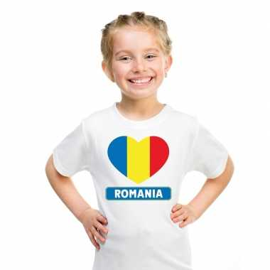 T-shirt wit roemenie vlag in hart wit kind